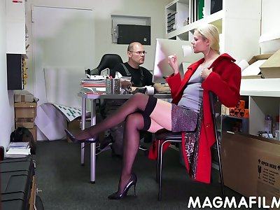 Nerd dude fuck slutty blond colleague Claudia Bitch right here the election
