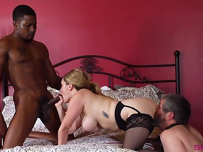 Chubby blonde Aiden Starr craving for black penis in the brush soaked pussy