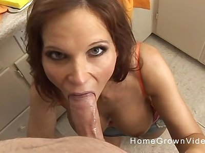 Mommy blows cock in mesmerizing POV scenes