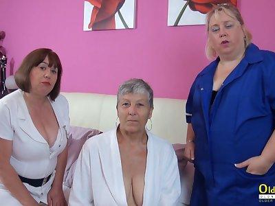 OldNanny Trisha and Lexie and Savana, lesbians concerning action