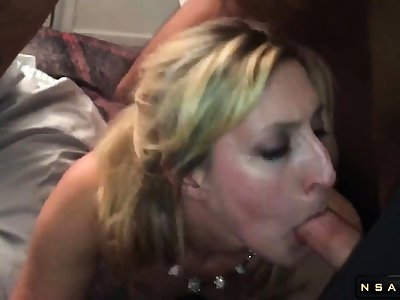 Horny wife in stockings enjoys a hot interracial threesome