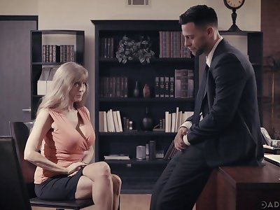 Busty mature wage-earner Darla Crane is making dote on with young boss