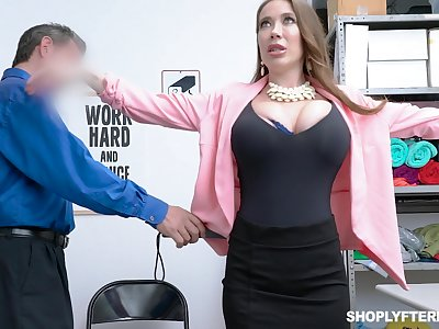 Brawny breasted slutty MILF Bianca Suffocate is twofold and fucked doggy by cop