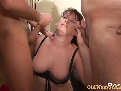 On target Crude Chubby Mature DP Threesome fucked hard