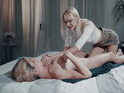 Kenna James with an increment of Cory Chase make the most of fairy massage