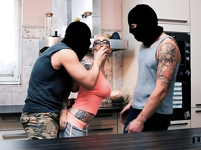 Masked burglars not fail shagging both these hotties