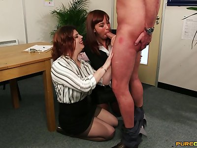 Old lady shares cock with the new chick in the office