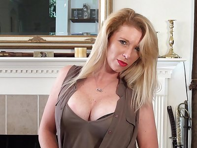 Busty blonde MILF Jasper Shelton drops say no to clothing to personify