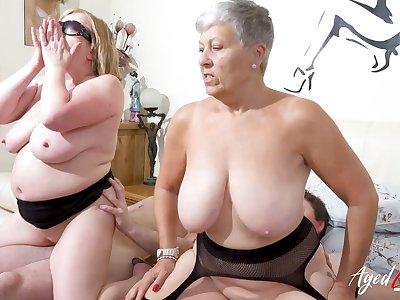AgedLovE Busty British Matures Hard Group Sex