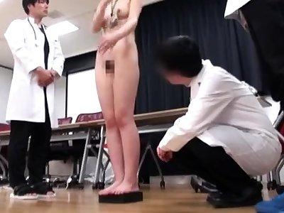 Japanese schoolgirl bondage with school uniform and gym equip