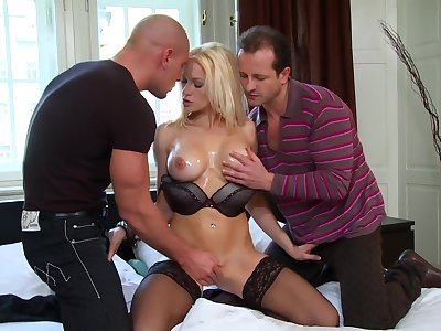 Premium fair-haired shared wide of a special of torrid stallions fro big dicks